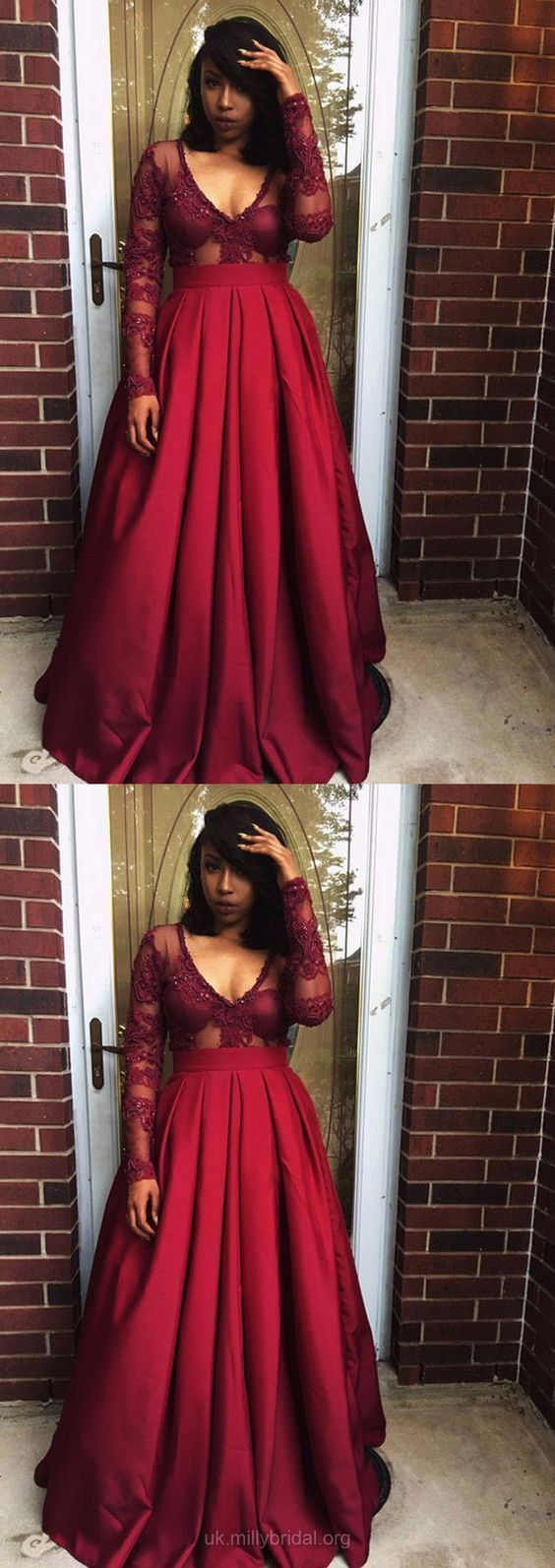 Burgundy Ball Gown V-neck Satin Tulle with Appliques Lace Floor-length Prom Dress M3053