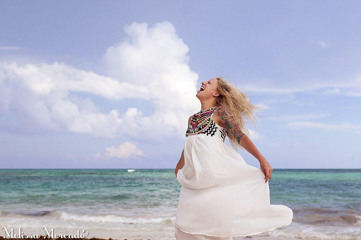 Bohemian white dress, half sleeve tattoo for girls, beach