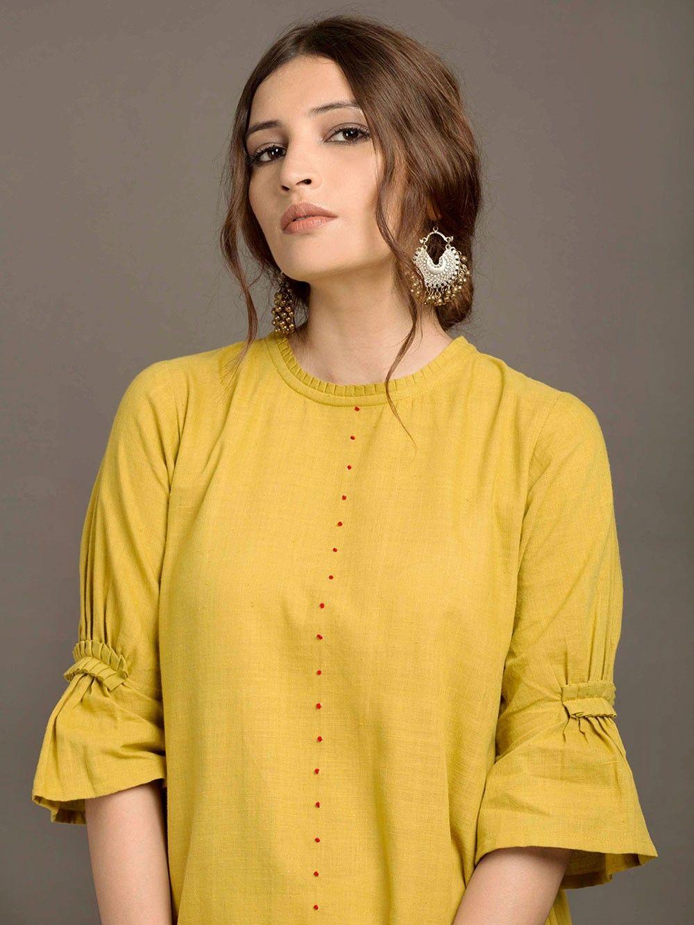 Mustard yellow khadi high low kurta my style in pinterest