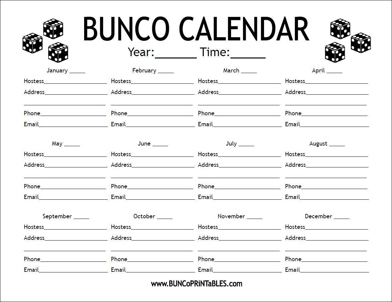 Bunco Calendar