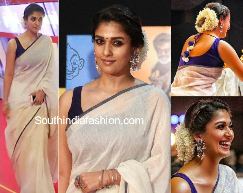 2315fe8b6818f Nayanthara attended the Vikatan awards wearing a white handloom linen saree  paired with contrast blue sleeveless blouse