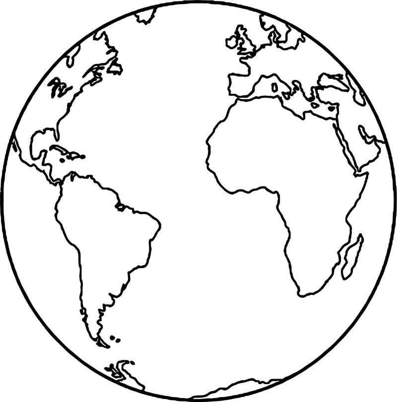 Earth Globe Coloring Page In 2020 Earth Coloring Pages Earth