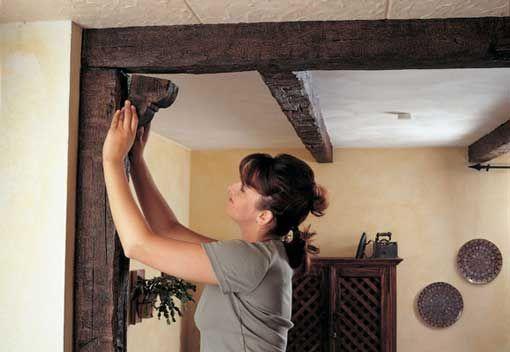 Techos y vigas falsas viga revestimiento de poliuretano - Vigas de madera para techos ...