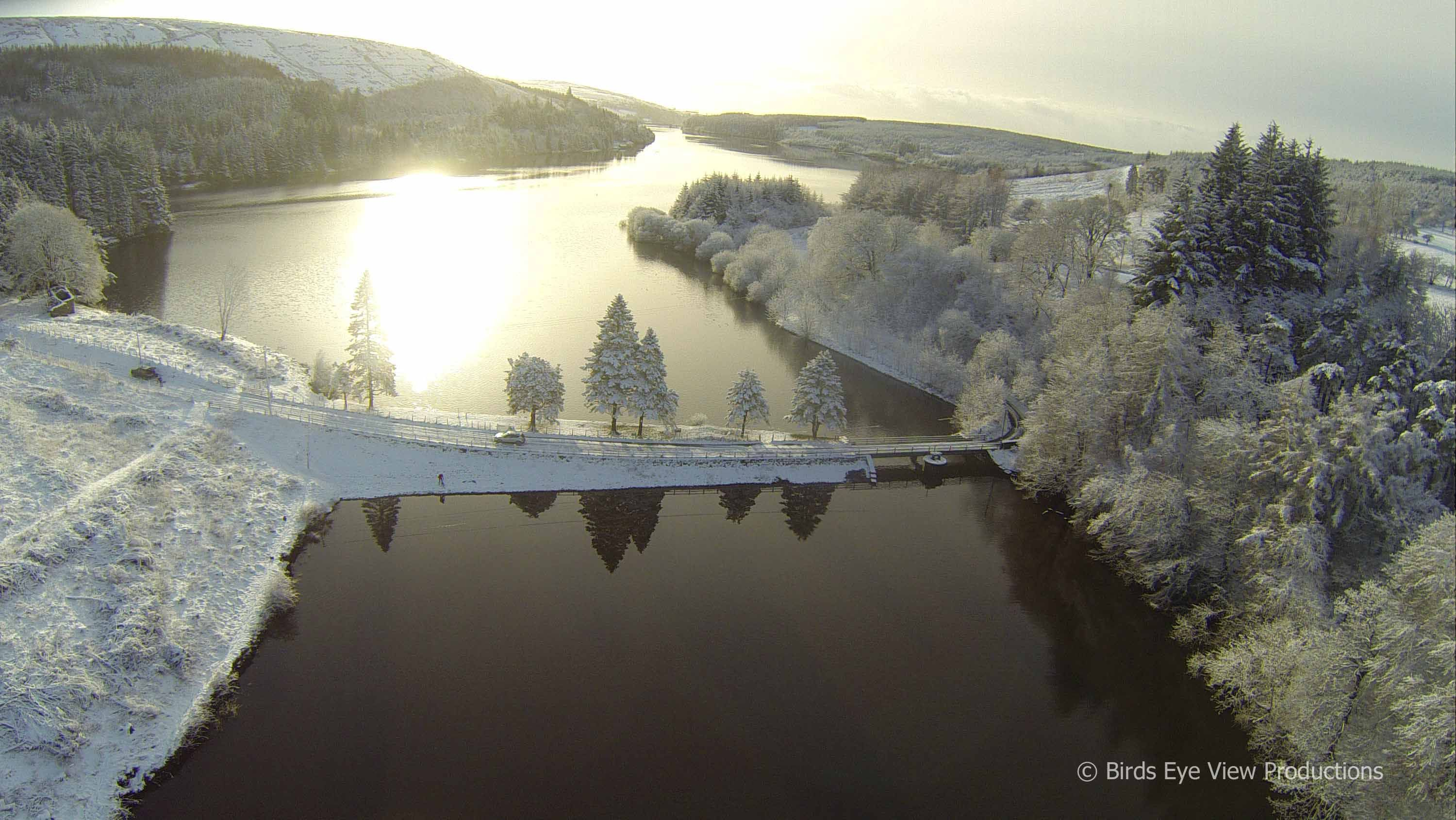 An aerial drone film of the stunning Brecon beacons immediately after a heavy snowfall