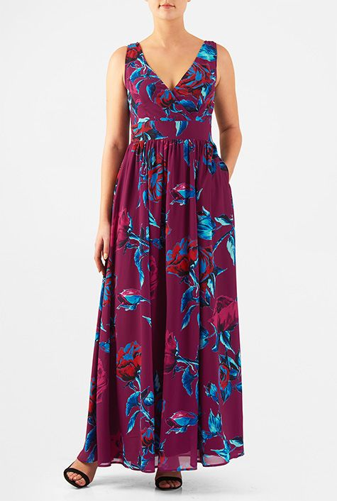 5e74b339ba3 Shorten to Knee or Just above knee length Rose print georgette surplice  maxi dress from eShakti
