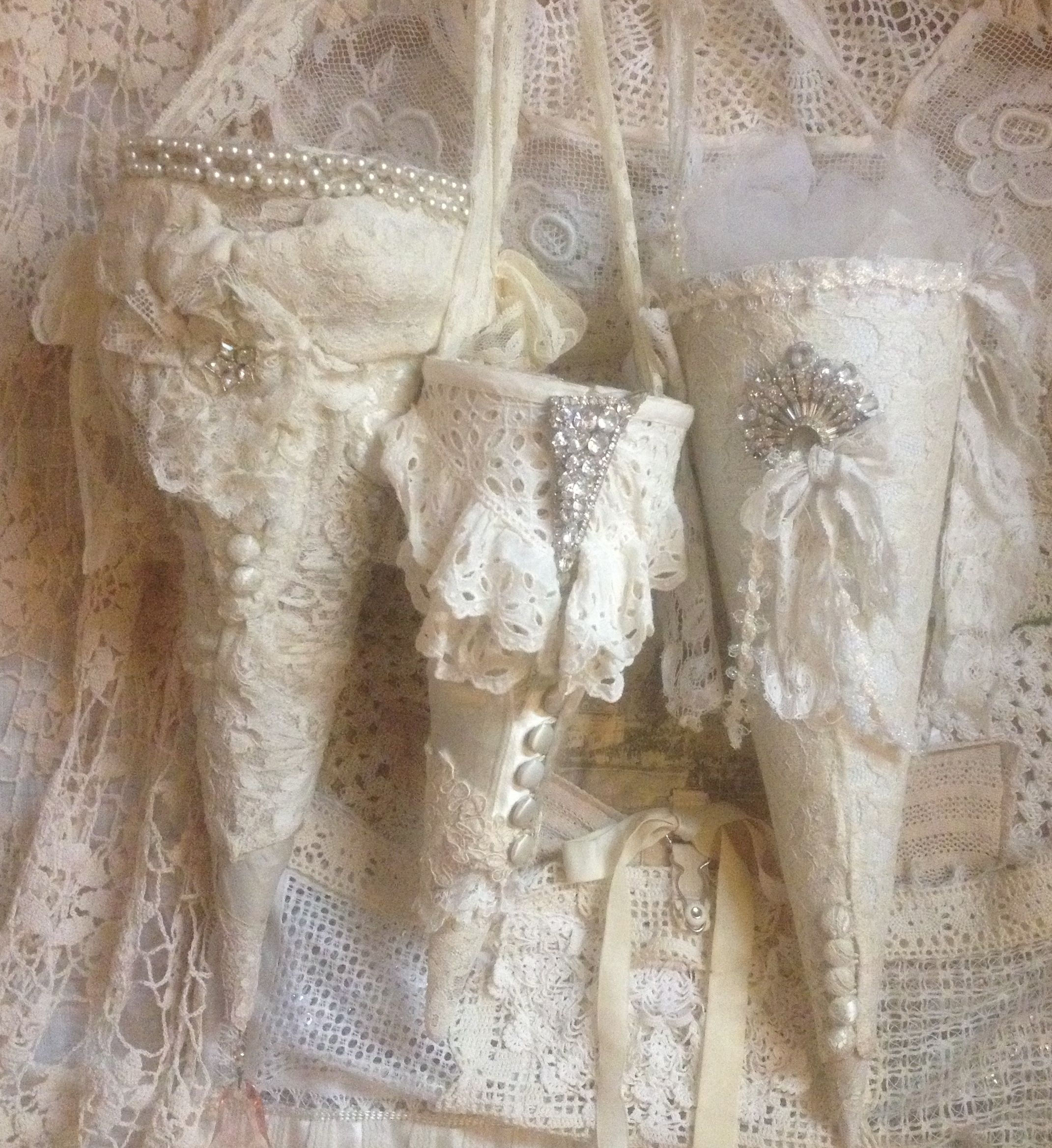 Recycled antique  wedding sleeves tussie mussies
