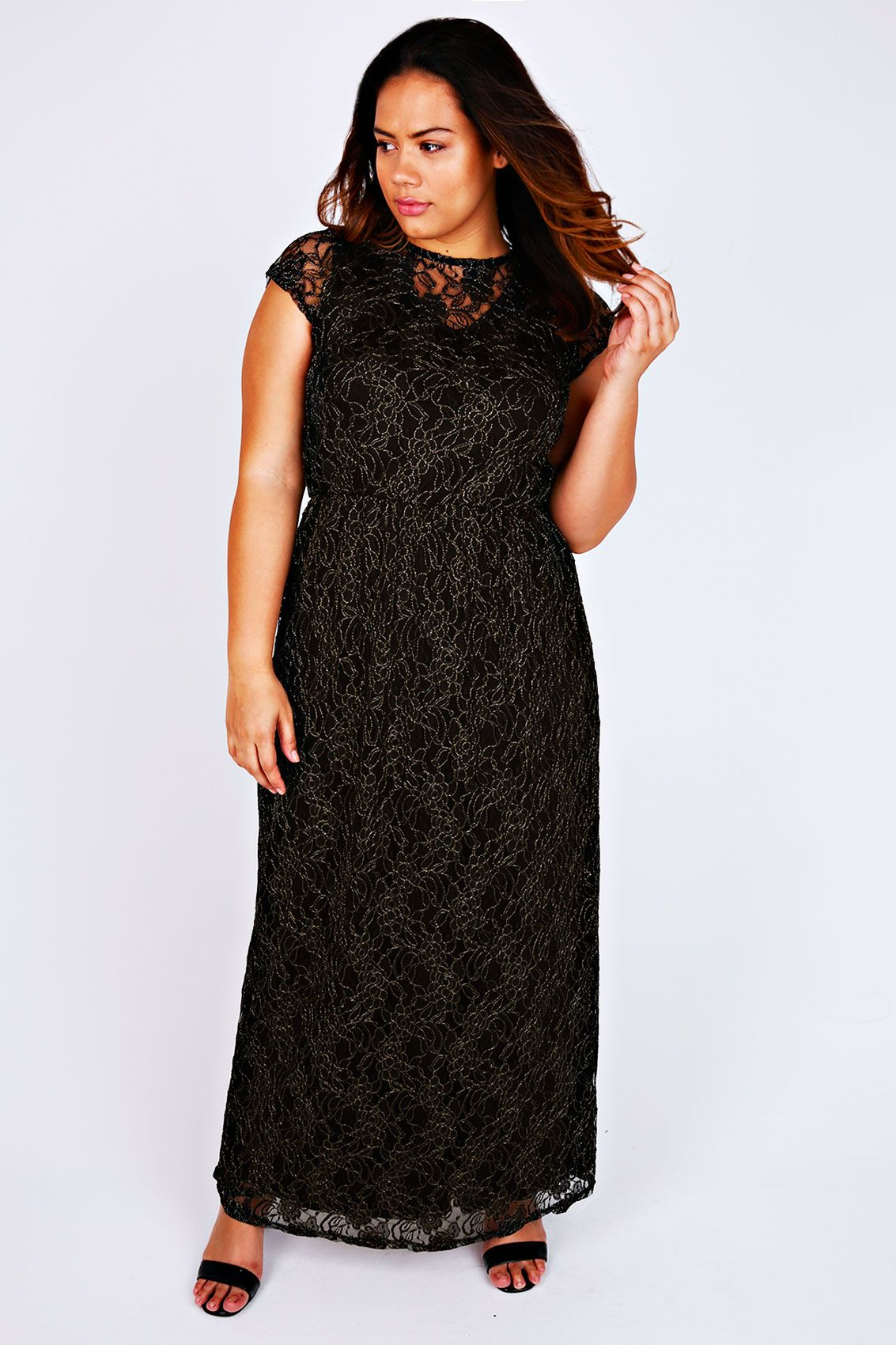Black u gold maxi dress with floral lace overlay modas pinterest