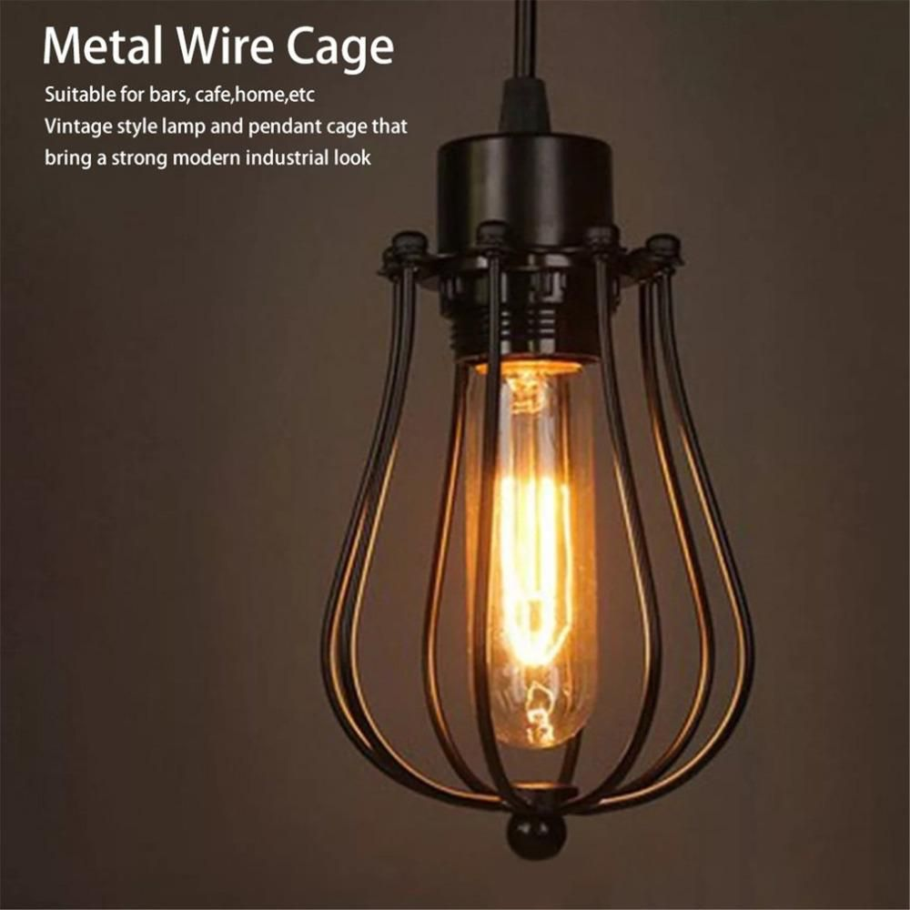 LED Shades Pendant Wire Bulb Cage Industrial Metal Antique VpUSzM