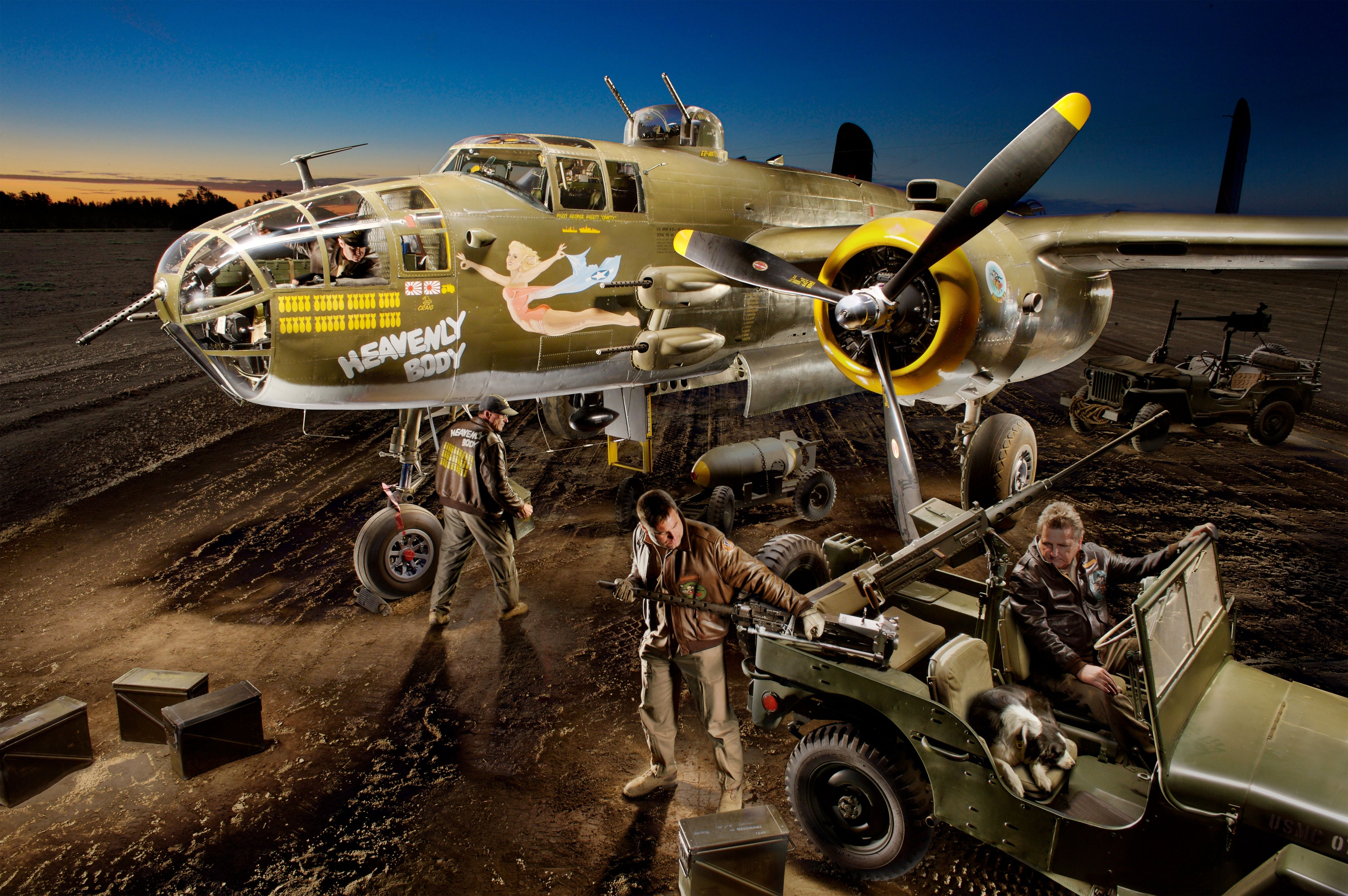 B25 mitchel bomber crew plus one light painting light