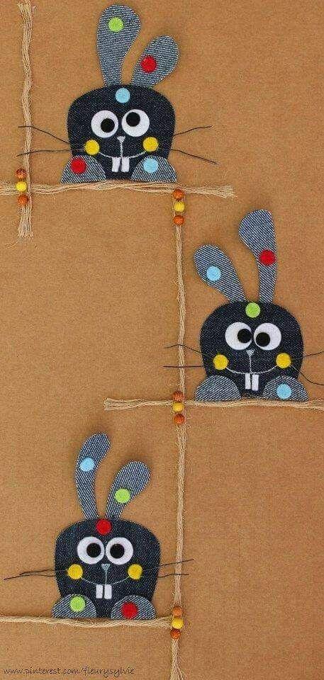 Idée carte postale ... ... | Felt crafts, Blue jeans crafts, Denim crafts