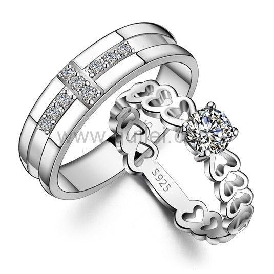 Personalized Cute Hearts Lovers Sterling Silver Rings Set For 2