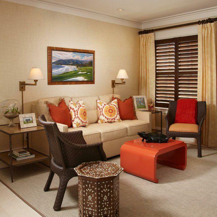Wundervoll Wohnideen Wohnzimmer Wände Beige Oranger Couchtisch Sisalteppich