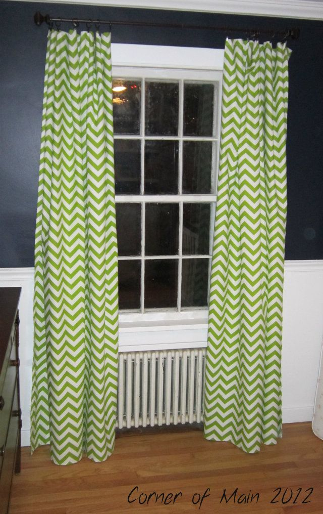Lime Green Chevron Curtains~I Like The Way They Look Against The Dark Grey