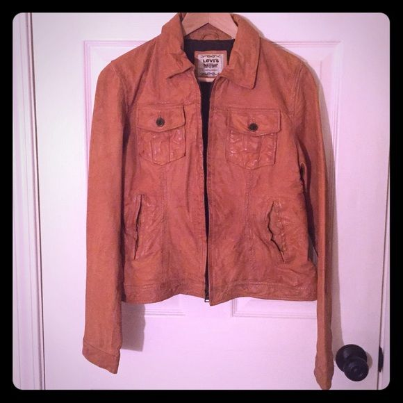 Levi's genuine leather jacket Genuine leather jacket, zipper front. Lining 100% cotton. Like new, no holes or stains. Levi's Jackets & Coats
