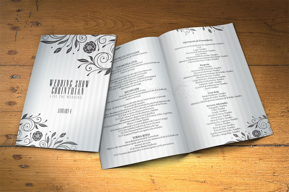 wedding program 2 sides psd template by graphicfy templates on