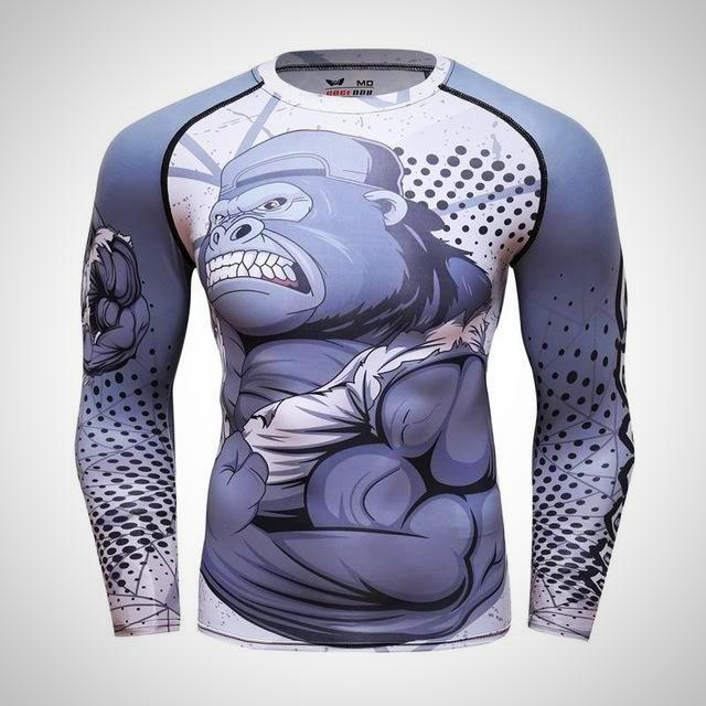 MMA Bjj Rash Guard Long Sleeve Compression Top Mens Rashguard Gorilla Fightwear