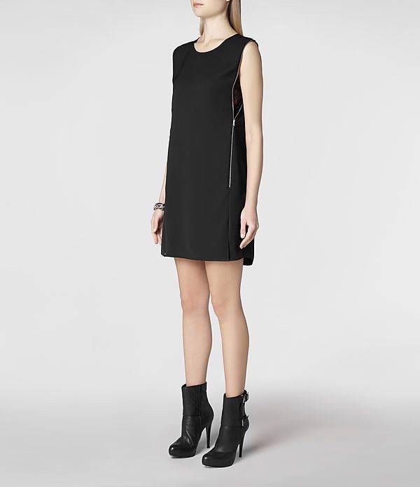 All Saints Silk Aster Zip Dress Size 10  BNWT in Black £148