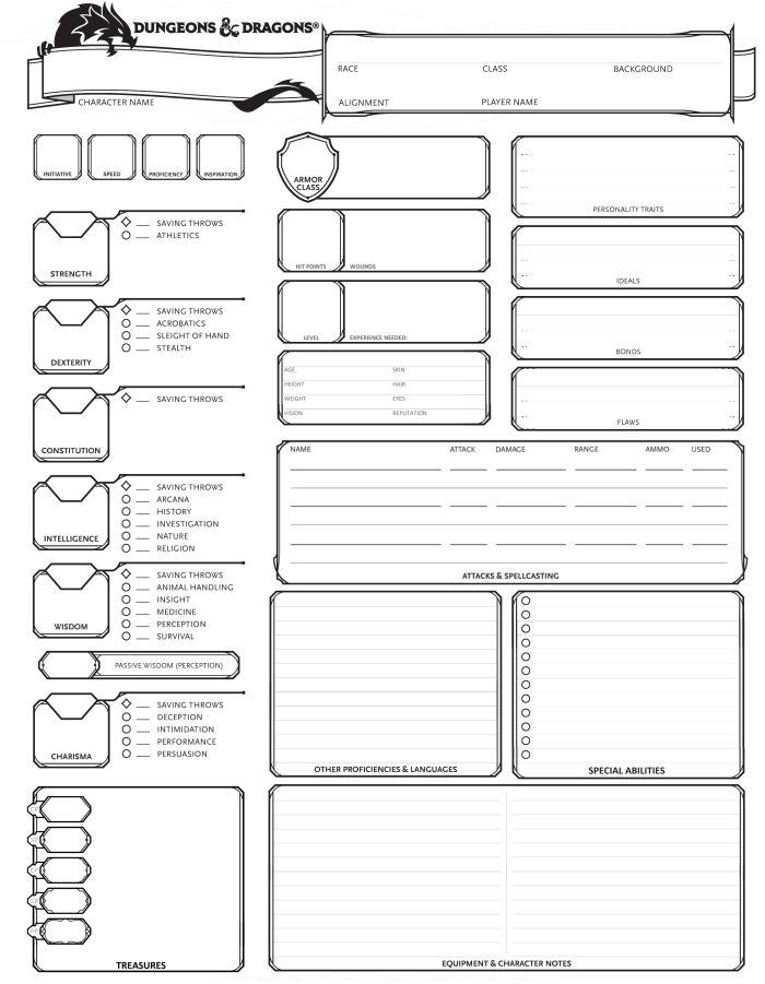 Exploring Character Design Pdf : Dungeons dragons th edition character sheet