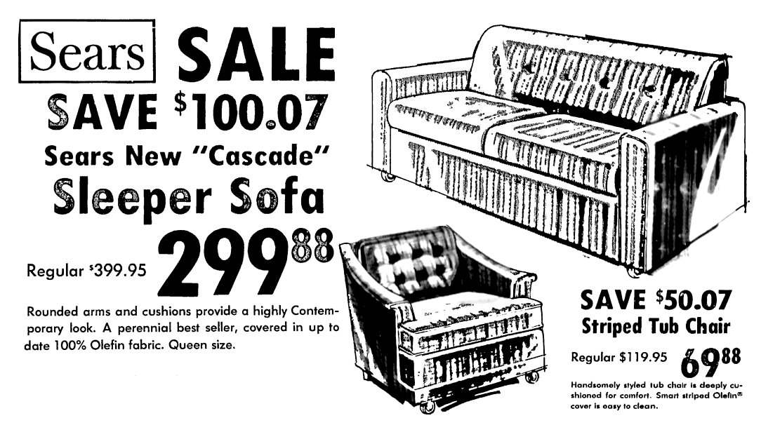 Sears Sleeper Sofa January 1976 Sleeper Sofa Olefin Fabric Sears