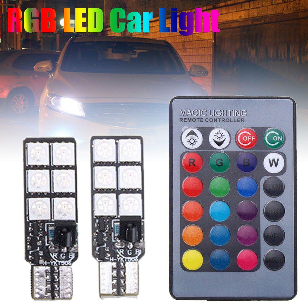 3 19 2pcs T10 12smd 5050 Rgb Led Car Wedge Side Light Reading Lamp Bulb Remote Control Afflink 2pcs 12smd 5050 Wedge Side Lig Lamp Bulb Led Bulb