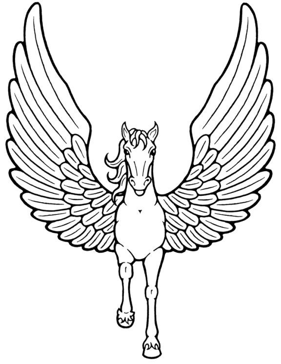 unicorn with wings flying coloring pages