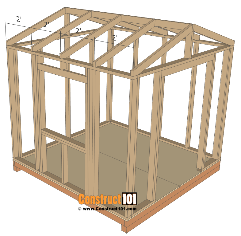 Garden Shed Plans 8x8 Step By Step Construct101 Diy Shed Plans Shed Plans Shed Storage