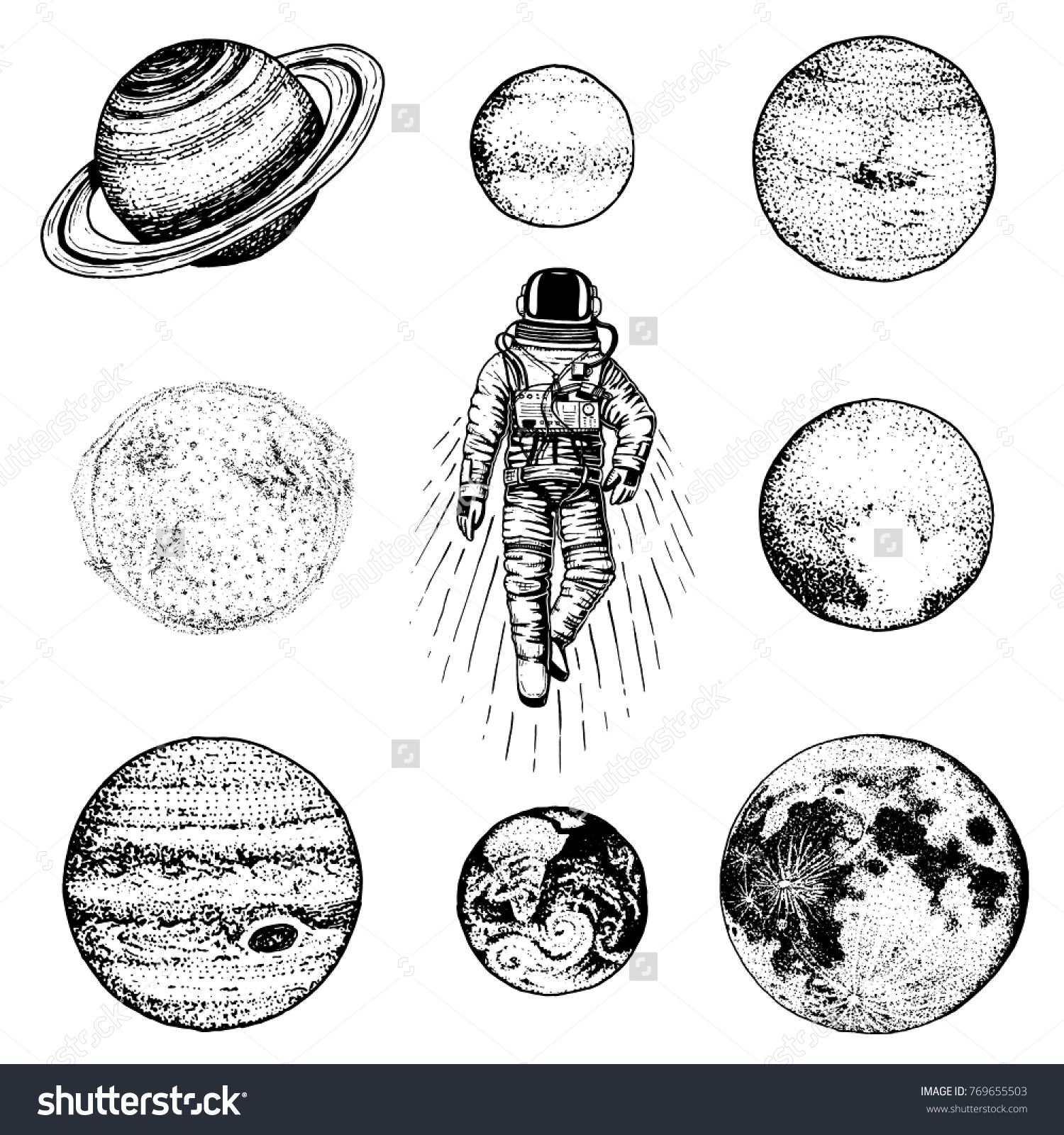 Astronaut Spaceman Planets In Solar System Astronomical Galaxy Space Cosmonaut Explore Adventure Engrave Planet Drawing Elephant Sketch Solar System Tattoo