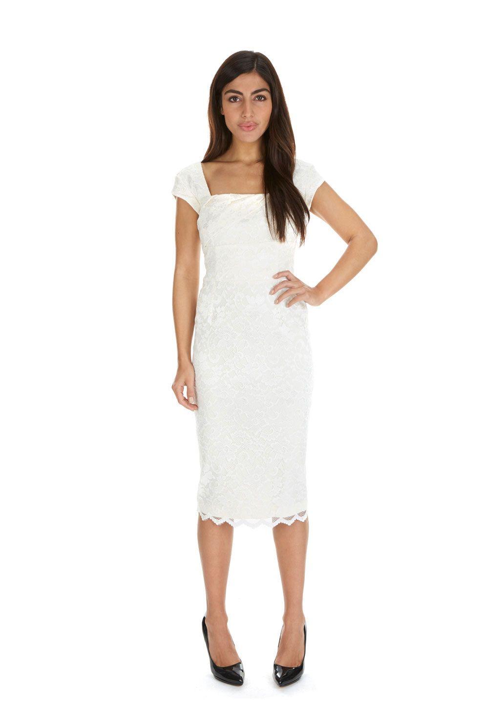 Cara Cream Lace Pencil Dress | The Pretty Dress Company