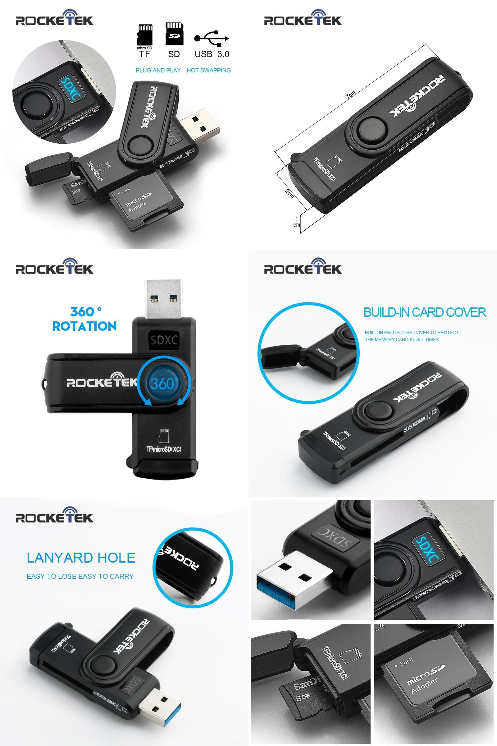 SDHC micro SD SDXC Rocketek USB 3.0 Memory Card Reader and OTG phone card reader 2 Slots Card Reader for SD