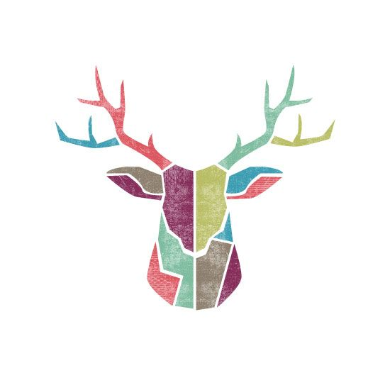Geometric Purple Deer Wall Art Print Modern Poster Buck: Abstract Deer Trophy By Daniela Butunoi