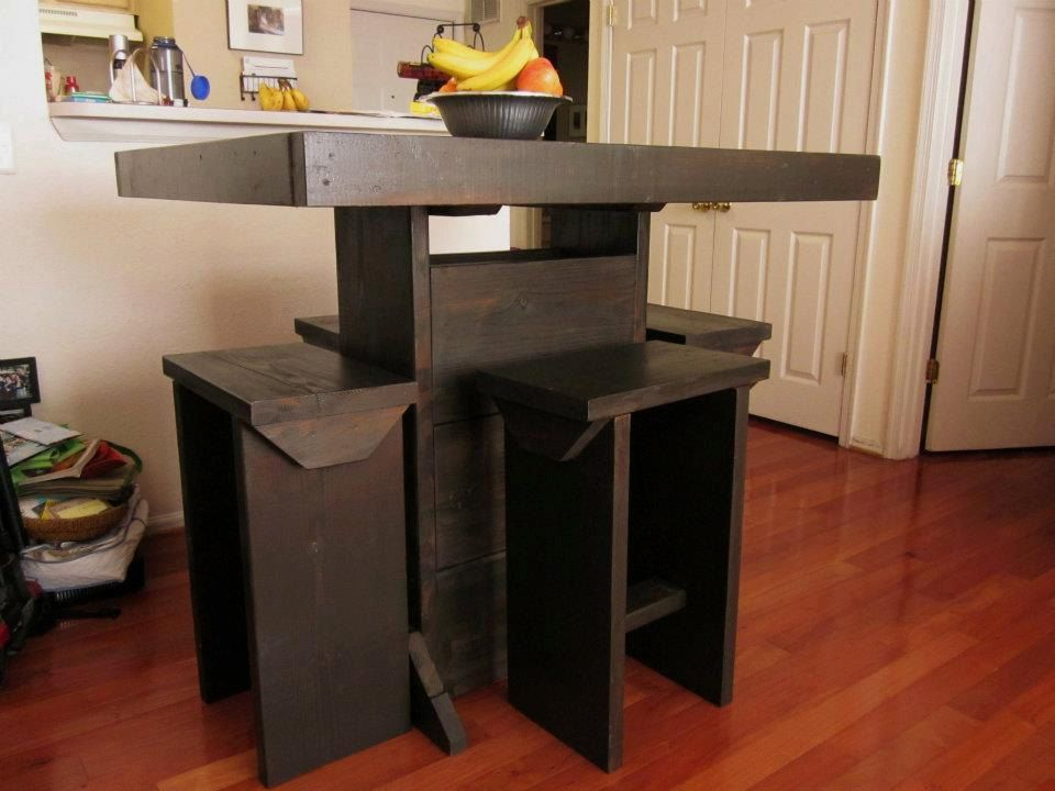4 Foot Bar Height Table With 4 Stools / Counter High Table. $499.00, Via  Etsy.