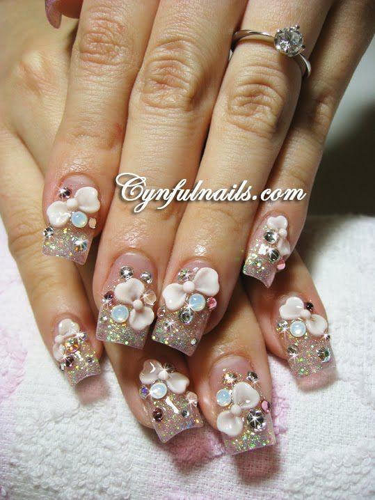 3d Pink Bows With Extra Bling Acrylic Nail Art Rhinestones Nail