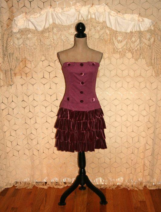 Purple Velvet Dress Strapless Dress 80s Dress New by MagpieandOtis