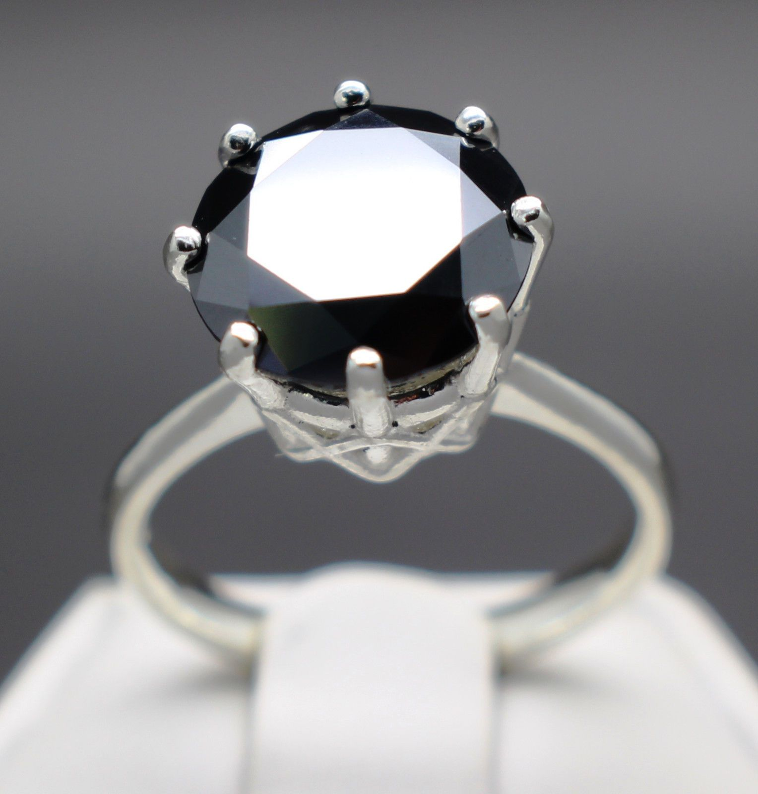 Jewelry cts mm natural black diamond ring certified aaa