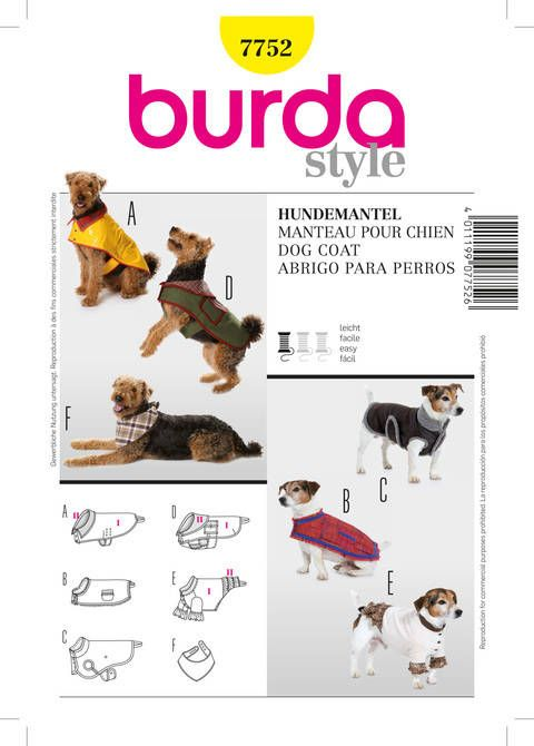 7752 Burda Schnittmuster Hundemantel im Makerist Materialshop ...