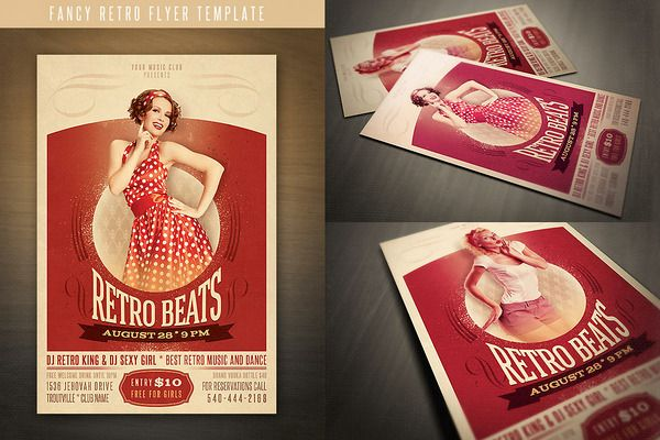 Retro Flyer Templates  Flyer Template Template And Vector Shapes