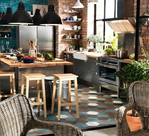 cocina pared de ladrillos mesa en el medio cocina rustica industrial