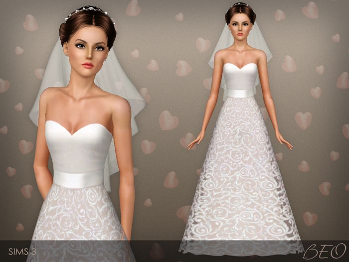 Awesome Wedding dress for The Sims by BEO