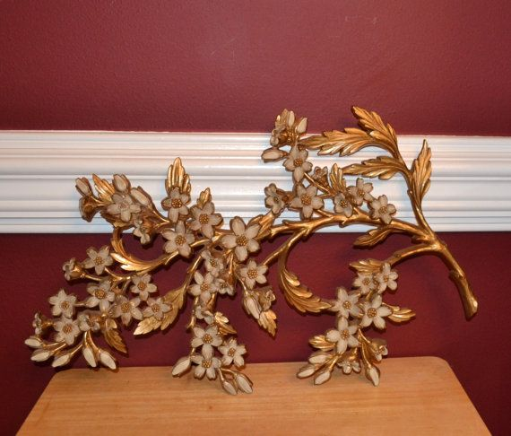 Wall hanging SYROCO Inc. 7033 gold and white by ItComesAndGoes ...