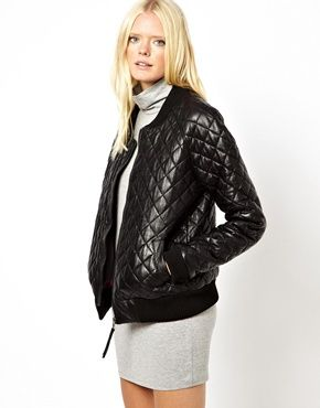 Just Female | Just Female Quilted Leather Bomber Jacket at ASOS ... : asos quilted leather jacket - Adamdwight.com