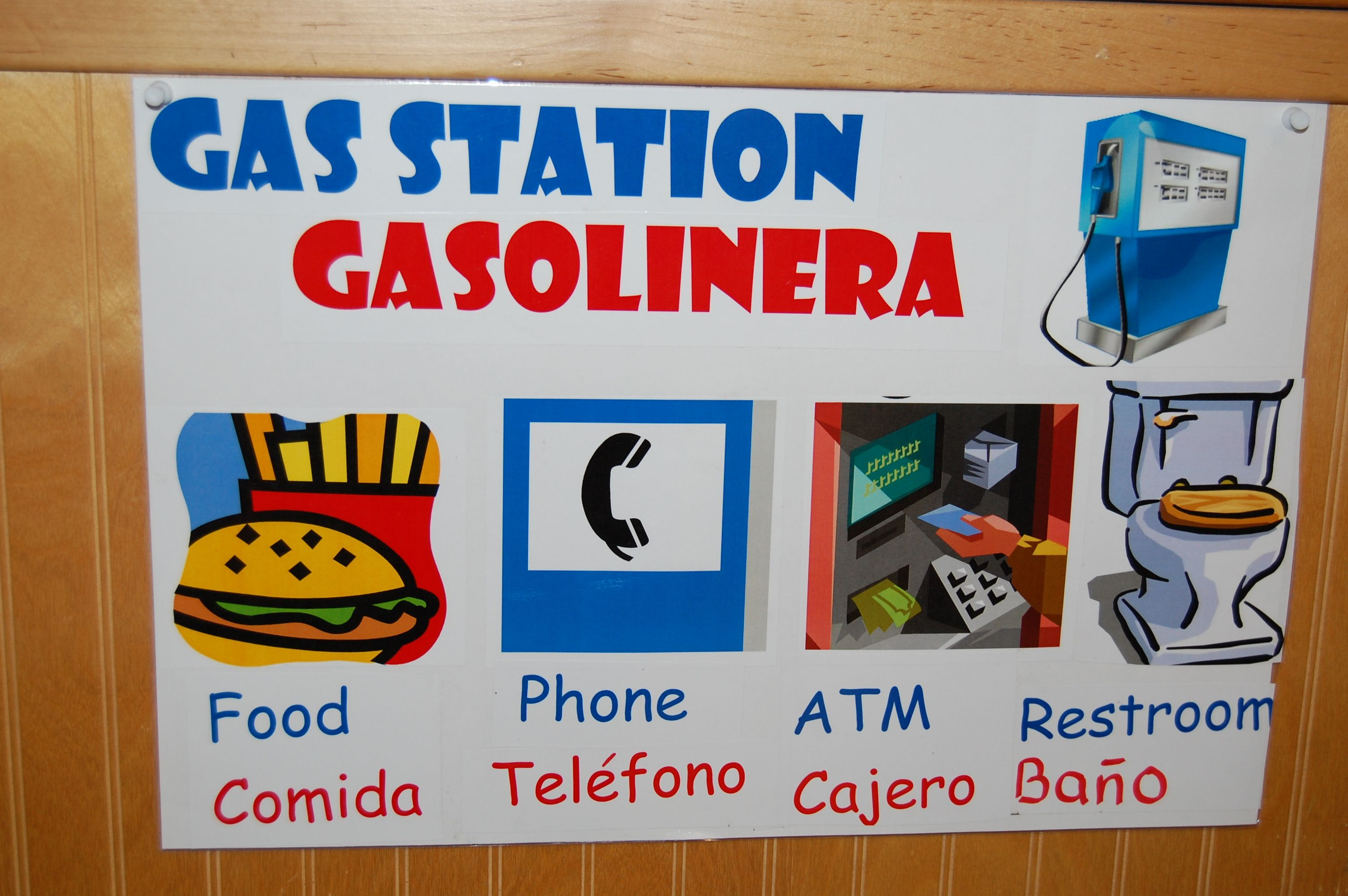 Gas Station Sign Spanish And English