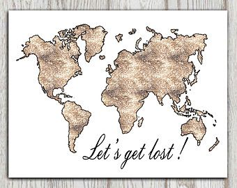 World map printable lets get lost travel quote wall art brown world map printable lets get lost travel quote wall art brown mosaic textured home decor poster gumiabroncs Choice Image