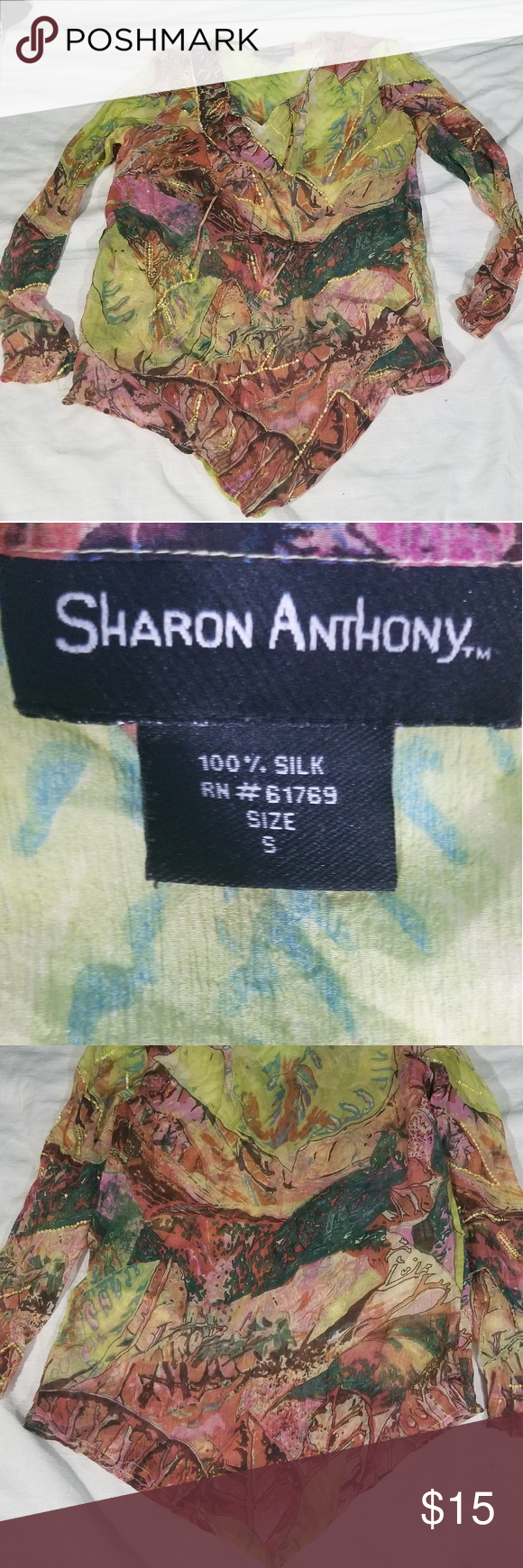 Sharon Anthony sheer silk top size small Sharon Anthony