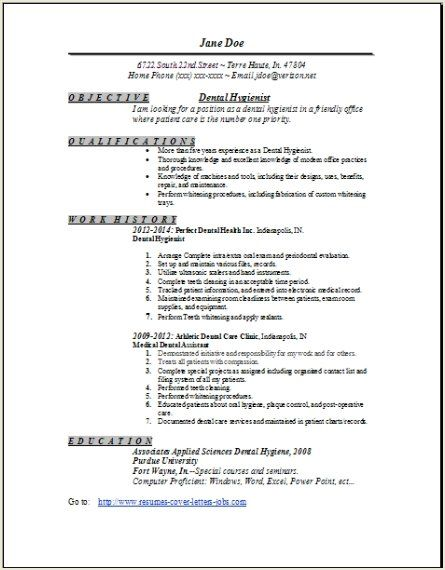 Dental Hygienist Resume 1 Dental Hygiene Pinterest Dental - dental hygiene resume template