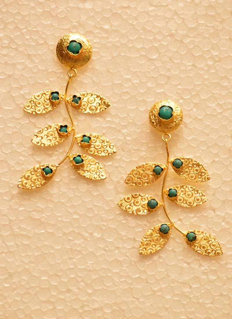 Party Wear Designer Golden Earring With Tree Leaf Design