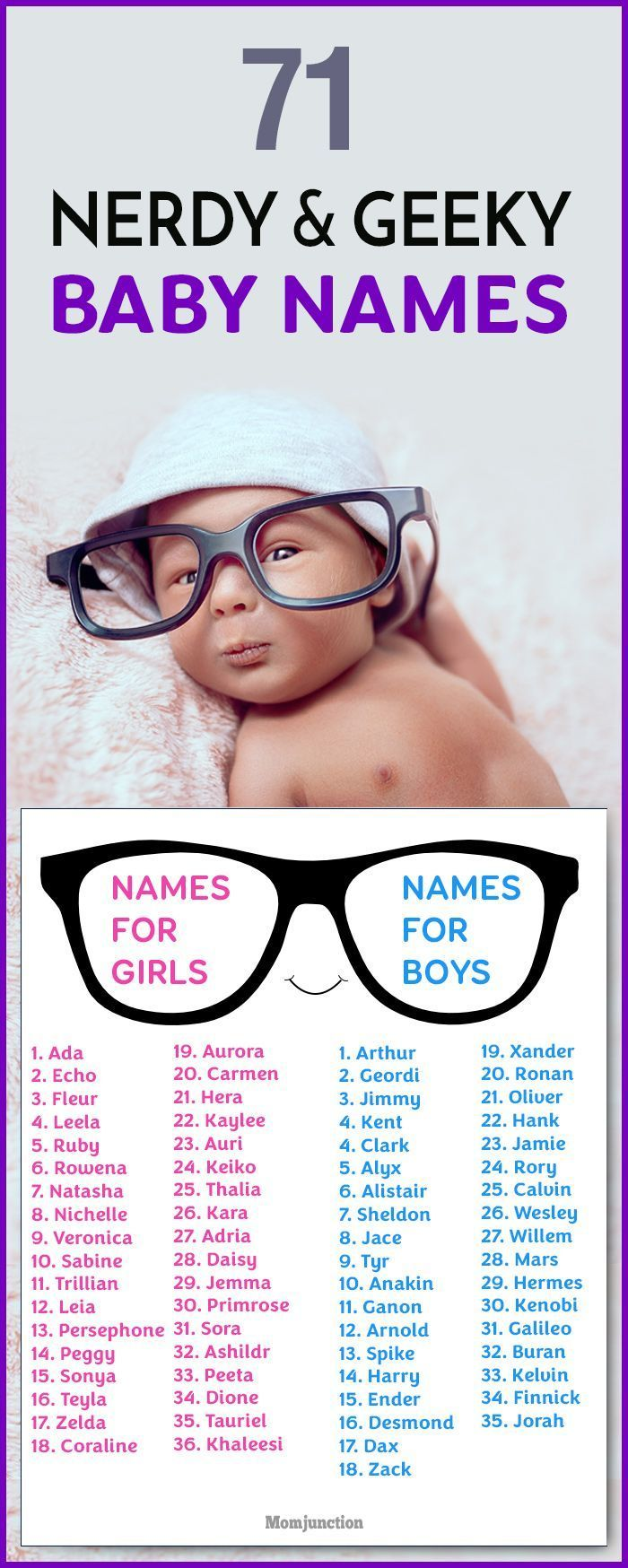 Nerdy and geeky is the new cool. So, if you have a baby on the way or are planning ahead, here are some geeky and brilliantly nerdy baby names for you.