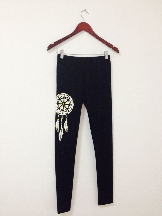 DREAM CATCHER leggings Black yoga leggings by COOLLeggings on Etsy