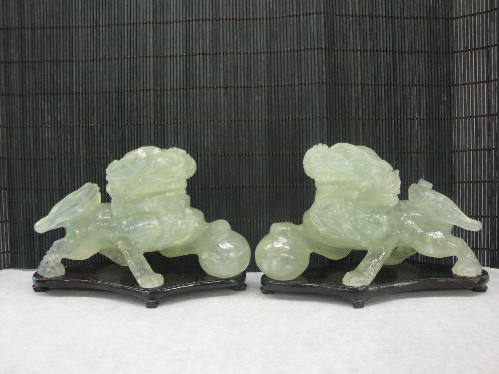 "Feng Shui Jade Foo Dogs 3 1/4"" H"