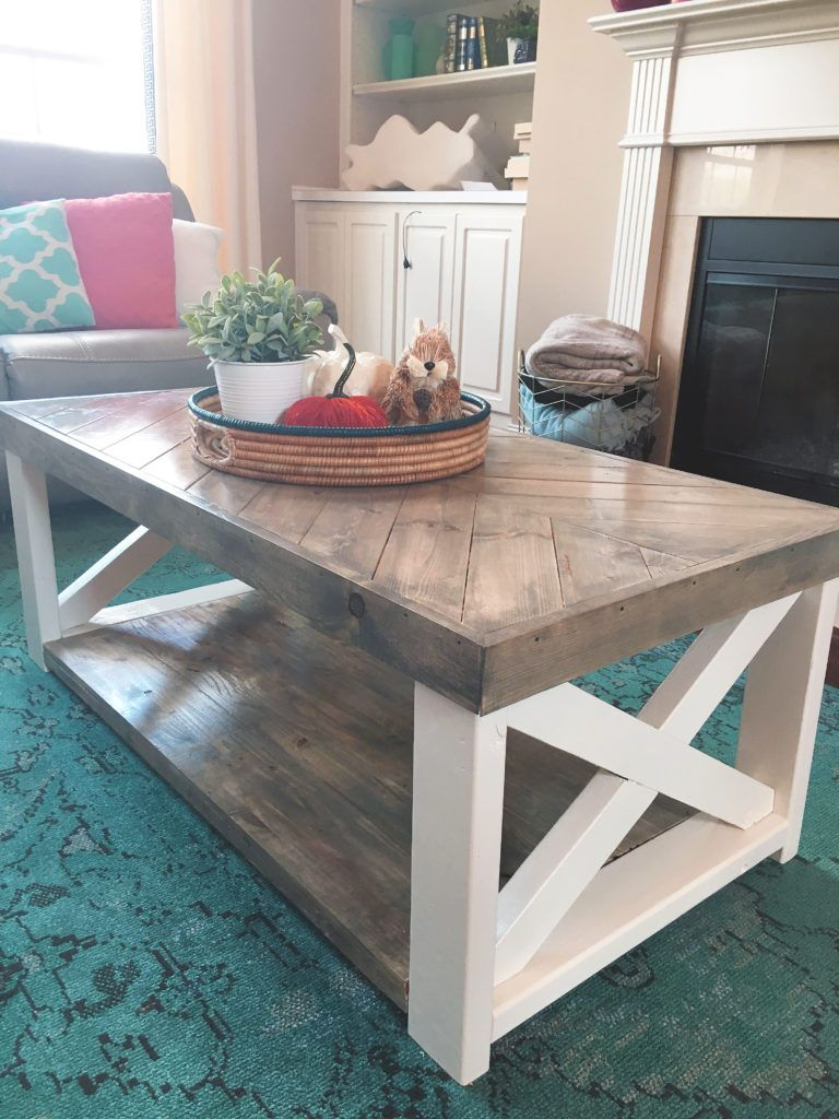The Look For Less Farmhouse Herringbone Coffee Table Coffee