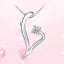 Fashion Jewelry 925 Sterling Silver Crystal Heart Pendant Necklace Chain Gift : Want more? https://bitly.com/showmemorepls